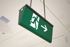 Exit. Emergency exit sign at airport Royalty Free Stock Image