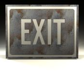 Exit. A rusty sign with the word exit on it Stock Photography