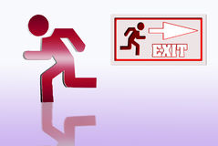 Exit. Emergency exit sign isolated diferents colors Royalty Free Stock Photography