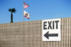 Exit. Sign with the usa and california flag and a palm tree Stock Images