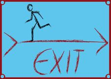 Exit. Man running against direction which shows dartv Stock Photos