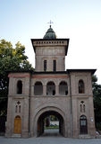 Exit from the Antim Monastery in Bucharest, Romania. The rear view of the entrance to the Antim Monastery complex built by Archbishop (Mitropolitan) Antim royalty free stock image
