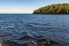 Exit from the bay on a boat_2. The wonderful island Valaam is located on Lake Lodozhskoye, Karelia. Balaam - a step to heaven royalty free stock photography