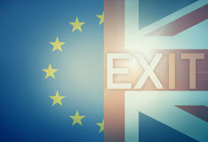 Exit Brexit Europe United Kingdom Combined Flag Stock Image