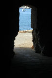 Exit of the cave Biodola Royalty Free Stock Image