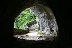 Exit from the cave. In Plitvice lakes Royalty Free Stock Photography