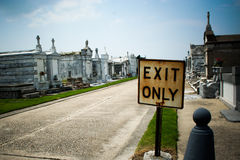 Exit Only Cemetery. Macabre humor. Exit Only sign located in a cemetery in New Orleans Stock Photography