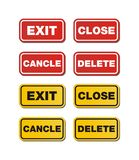 Exit, close, delete, cancle signs Royalty Free Stock Images