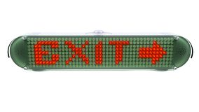 EXIT - Digital Pin Sign with Emitting LED Light Stock Image