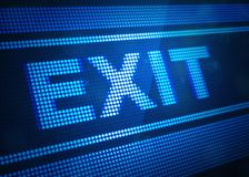 Exit digital screen 3d illustration. With blue colour Stock Images
