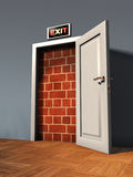 Exit door. Blocked by a brick wall. Digital illustration royalty free illustration