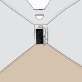 Exit Door in Hall. Cartoon hallway background with single exit door open stock illustration