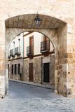 Exit door from the main square of Pastrana, Guadalajara, Spain Royalty Free Stock Photography