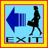 Exit emergency sign door with human figure, label. Icon Stock Image