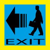 Exit emergency sign door with human figure, label Royalty Free Stock Images