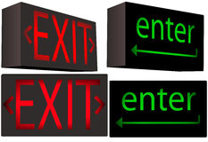 EXIT enter illuminated box sign symbols. A set of 2 Inner Illuminated Box Signs each from 2 angles: red EXIT and green 'enter' key, with direction arrows Royalty Free Stock Photo
