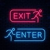 Exit and Enter. Vector neon signs. Vector Illustration vector illustration