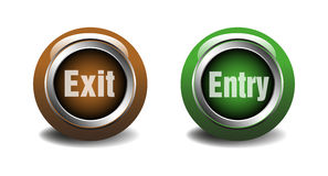 Exit and entry glossy web buttons Stock Images