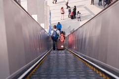 Exit escalator of railway station Royalty Free Stock Photos
