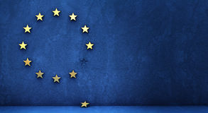 Exit from the euro group. Exit from the eurozone: golden star fallen from a blue wall vector illustration