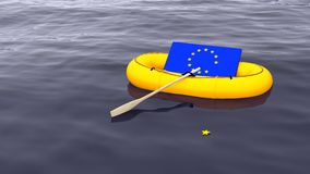 Exit the european union rubber boat concept. European flag swimming in a yellow rubber boat alone on the ocean with one star drifting away brexit concept 3D Royalty Free Stock Photos