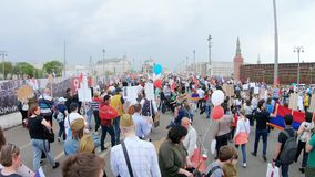 Exit from the event. RUSSIA, MOSCOW - MAY 9, 2019: Exit from the event. Procession Immortal Regiment - a civil initiative to perpetuate the feat of soldiers of stock video footage