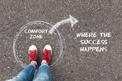 Free Exit From The Comfort Zone Concept. Feet Standing Inside Circle Stock Image - 120961081