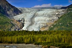 Exit glacier from Hrading icefield in Alaska. The most accessible glacier for tourists, hiking the glacier, alaskan adventure, far north vacation, travel to royalty free stock image