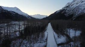 Frozen back road in Alaska stock video