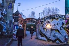 Exit with graffiti, Freetown Christiania, Copenhagen, Denmark royalty free stock photo