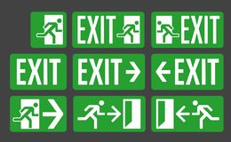 Exit green color signs set royalty free illustration