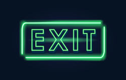 Exit green neon sign Stock Photography