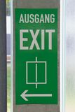 Exit. Green signpost Exit with regard to lift Royalty Free Stock Images