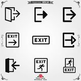 The exit icon. Logout and output, outlet, out symbol. Vector logo. The exit icon. Logout and output logo, illustration, vector sign symbol for design royalty free illustration