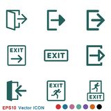 The exit icon. Logout and output, outlet, out symbol. Vector logo. The exit icon. Logout and output logo, illustration, vector sign symbol for design stock illustration
