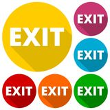 Exit icons set with long shadow. Vector icon Royalty Free Stock Photos