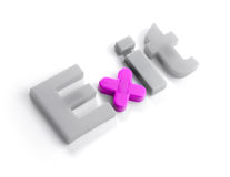 EXIT letters. Exit sign made of magnetic letters isolated on white background. The X character is highlighted. The color of X can easily be adjusted by changing royalty free stock images
