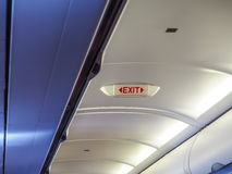 Exit Light emergency on plane royalty free stock photos