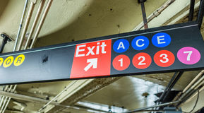 Exit and lines signs in New York CIty subway Stock Images