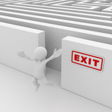 Exit the maze. Computer generated image. 3d render stock illustration