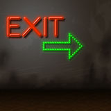 Exit Neon Indicates Escaping Exits And Glow. Neon Exit Representing Glowing Escaping And Leaving Stock Photo