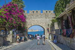 Exit from the old town to the mandraki harbor royalty free stock photo