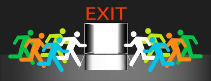 Exit out door many humans group run to emergency evacuation vector isolation. Royalty Free Stock Photos