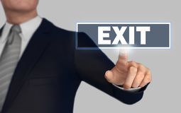 Exit   pushing concept 3d illustration. Exit      with finger pushing concept 3d illustration Royalty Free Stock Photo