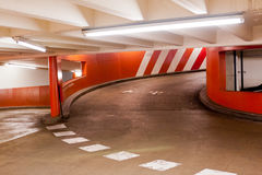 Exit ramp in parking garage Stock Photography