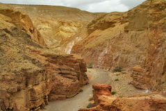 Exit from the Red canyon. A Red canyon in mountains about Eilat in Israel Royalty Free Stock Photo