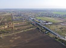Exit road bridge on the south side of Ploiesti, Romania, aerial view. Aerial view of the main exit road bridge in the south side of Ploiesti City, Romania, and royalty free stock images