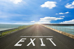 EXIT - Road surface of begin to the real life. Stock Photography