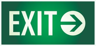 Exit sign. Vector  illustration of the illuminated sign for exit Stock Images