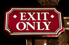 Exit only sign. Fancy lighted exit only sign in Las Vegas Stock Images